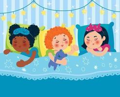garotas dormindo na cama depois de uma festa do pijama. filhos de diferentes nacionalidades. vetor