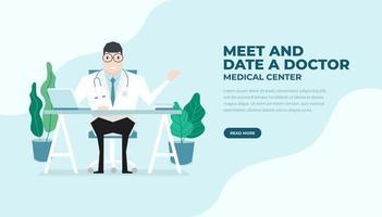 médico sentou-se à mesa de estilo plano. praticante médico homem no consultório médico do hospital. consulta e diagnóstico. banner médico e de saúde. vetor