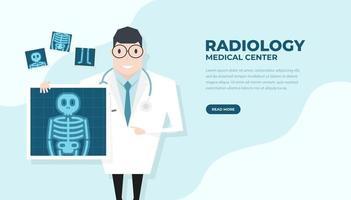 médico segurando o filme de raio-x. banner de verificação de saúde. vetor