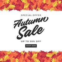 outono banner de venda para venda de compras. fundo colorido das folhas de outono. vetor