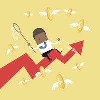 empresário africano equitação sucesso seta gráfico pegar moedas voadoras. vetor