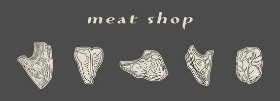 conjunto de ilustração vetorial de bifes de fatias. vetor