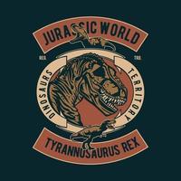 design de distintivo vintage jurrasic world vetor
