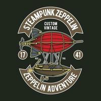 design do emblema do zepelim Steampunk vetor