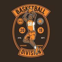 design de distintivo vintage da divisão de basquete vetor