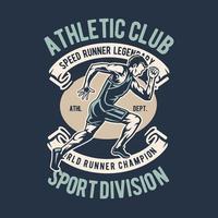 design de distintivo vintage de corredor atlético vetor