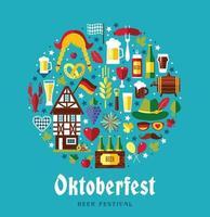vector design plano definir ícones com símbolos de celebração da oktoberfest. projeto de celebração da oktoberfest com chapéu da Baviera e folhas de outono e símbolos da Alemanha