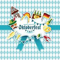 ilustração em vetor design plano com símbolos de celebração da oktoberfest. projeto de celebração oktoberfest com chapéu da Baviera e símbolos de outono e Alemanha.