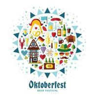 ilustração em vetor design plano com símbolos de celebração da oktoberfest. projeto de celebração oktoberfest com chapéu bávaro e folhas de outono