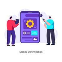 otimização e configurações para celular vetor