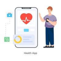 eletrocardiograma app saúde vetor