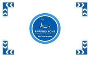 scooter parking - área de estacionamento marcada para scooters. sinal de scooter. vetor