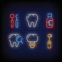 símbolo de atendimento odontológico sinais de néon vetor de estilo