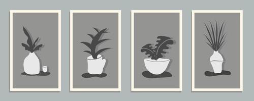 conjunto de natureza-morta abstrata em cartazes de cores monocromáticas. coleção de arte contemporânea. elementos abstratos, folhas, planta, botânica, flor para mídias sociais, cartões postais, impressão. vetor