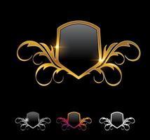 sinal vetorial moldura escudo dourado vetor