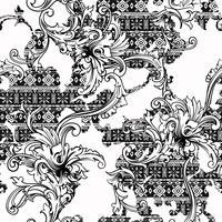 Padrão sem emenda de tecido eclético. Origem étnica com ornamento barroco. vetor