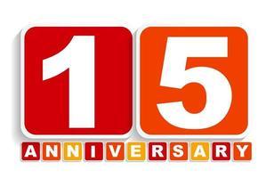 quinze 15 anos de aniversário de etiqueta de etiqueta para a sua data. ilustração vetorial vetor