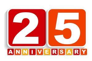 sinal de rótulo de aniversário de vinte e cinco 25 anos para sua data. ilustração vetorial vetor