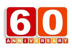 rótulo de aniversário de sessenta anos 60 para o seu encontro. ilustração vetorial vetor