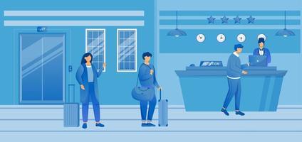 verificação de hotel em ilustração vetorial plana. turistas com bagagem na recepção. recepcionista na recepção com os hóspedes na área de espera. serviço de hospitalidade. viajantes com malas de personagens de desenhos animados vetor