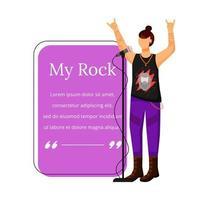 ilustração em vetor cor plana cantor de banda de rock. vocalista. músico. personagem de desenho animado isolado. cite o modelo de quadro em branco. bolha do discurso roxo retangular. citação, design de caixa de texto de citação.