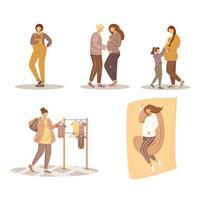 conjunto de ilustrações vetoriais plana de gravidez. maternidade, preparação e gestação. mulheres jovens e suas famílias esperando por personagens de desenhos animados caucasianos isolados de bebês em fundo branco vetor