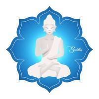 ilustração em vetor plana Buda. escultura religiosa em lótus. pose de meditação. cultura indonésia. religião asiática. budismo