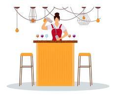 ilustração em vetor cor plana mulher bartender. pessoal de serviço de uniforme no balcão do bar. trabalhadora de hotel feminino preparando coquetéis. garçonete com personagem de desenho animado isolado agitador em fundo branco