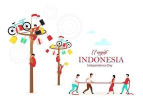 modelo de vetor cartaz plano do dia da independência da Indonésia. jogos festivos. as pessoas celebram personagens de desenhos animados do feriado nacional. festival asiático. banner, página do folheto, design de folheto, lugar para texto