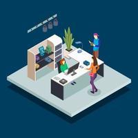 ilustração em vetor cor isométrica de recepção de biblioteca. bibliotecário na mesa. administrador da livraria. alunos lendo e estudando em uma biblioteca de livros públicos conceito 3D isolado em fundo azul