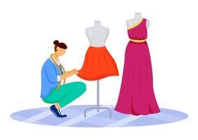 ilustração em vetor cor lisa ateliê de designer de moda. criando saias exclusivas, vestidos em oficina. desenhando e costurando roupas em um estúdio de alfaiate isolado personagem de desenho animado em fundo branco