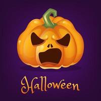 ilustração em vetor dos desenhos animados de abóbora assustadora. lanterna de halloween com mal sorriso clipart isolado com letras. adesivo assustador de abóbora laranja realista, patch em roxo. postagem de mídia social de feriado de outono