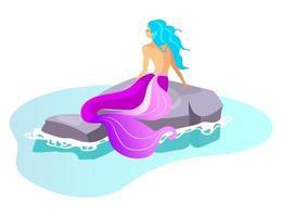 ilustração em vetor plana sirene. besta mitológica nadando no mar. monstro de fada na rocha. criatura fantástica metade mulher. mitologia grega. sereia em personagem de desenho animado isolado de recife em fundo branco