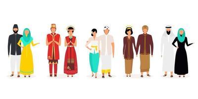conjunto de ilustrações vetoriais plana indonésios. povo indígena. cultura asiática. famílias de adultos. pessoas vestidas com roupas nacionais isoladas de personagens de desenhos animados em fundo branco vetor
