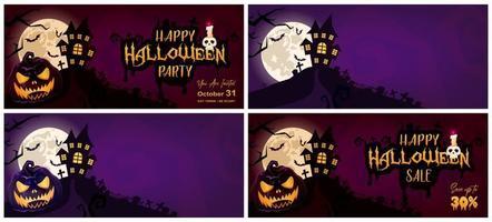 feliz halloween banner vector conjunto de modelos. fundos de desenhos animados assustadores e assustadores com abóbora, ilustrações de casas assombradas e pacote de letras. festa de feriado de outono, cartazes de venda layouts de design plano