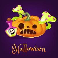 ilustração em vetor dos desenhos animados de abóbora assustadora. lanterna de halloween com poção e clipart de cogumelos com letras. adesivo de abóbora esculpida laranja realista assustador, patch. postagem de mídia social de feriado de outono