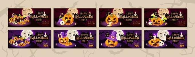 conjunto de modelos de vetor de faixa plana feliz festa de halloween. layout de design de convite de evento de feriado de outubro. fundo assustador, assustador dos desenhos animados com abóbora, lua e letras. pacote de pôsteres do Helleen
