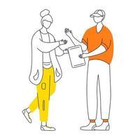 jovem casal com ilustração em vetor contorno plana tablet. dois amigos adolescentes assistindo o personagem de contorno de desenho animado isolado tela gadget em fundo branco. menino dá tablet para menina desenho simples