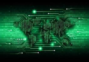 tecnologia futura da placa de circuito binário mundial, fundo do conceito de segurança cibernética hud azul vetor