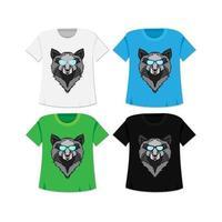 camiseta de lobo selvagem vetor