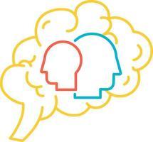 psicologia da função do vetor de ícone do cérebro humano. distúrbio psicológico individual e problema de saúde mental funcional. órgão intelectual da anatomia. diagnóstico psiquiátrico e ilustração do contorno da terapia