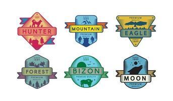 conjunto de emblemas de animais, cachorro, bizon, veado, urso, águia e lobo vetor