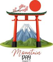 banner do dia da montanha com monte fuji e portão torii vetor