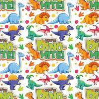 padrão sem emenda com dinossauros fofos e fonte em fundo branco vetor