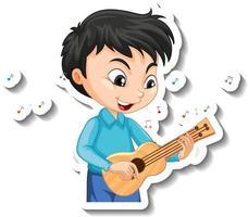 desenho de adesivo com um menino tocando cavaquinho vetor