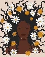 linda mulher negra com flores de camomila no cabelo solto. arte da parede de meados do século boho. menina morena de pele escura. mão desenhada cartaz imprimível cartão postal. ilustração mínima do vetor das ações.