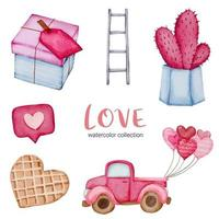 conjunto de grande isolado aquarela valentine conceito elemento adorável romântico vermelho-rosa corações para decoração, ilustração vetorial. vetor