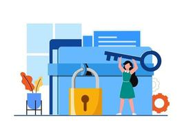 ilustração do conceito on-line de segurança de dados pessoais e segurança de dados cibernéticos vetor