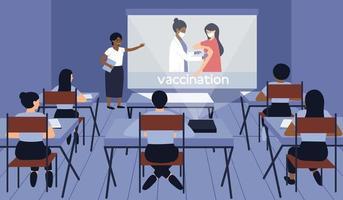 estudantes de medicina ouvem um palestrante em uma conferência em sala de aula vetor