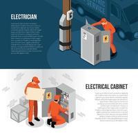 ilustração vetorial de banners isométricos eletricista vetor